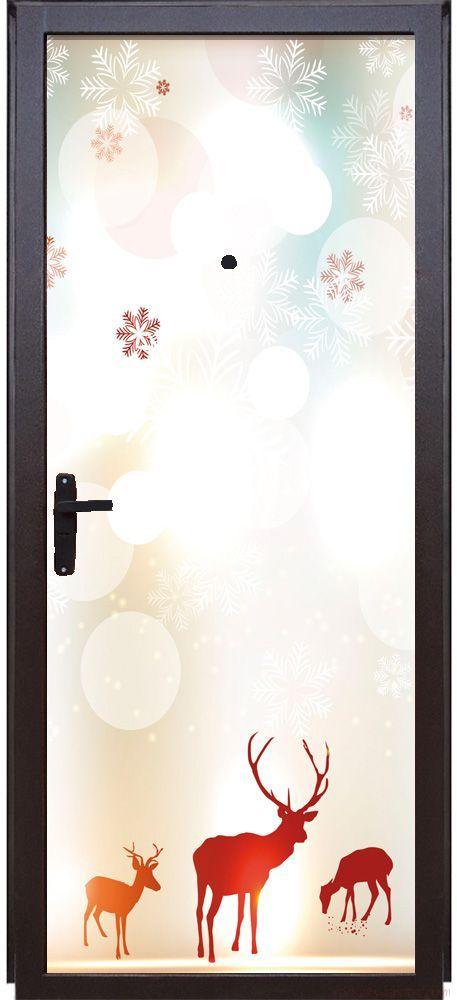 Наклейка на дверь - Северное сияние 2