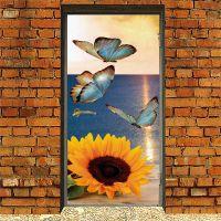 Виниловая наклейка на дверь - Бабочки и подсолнух