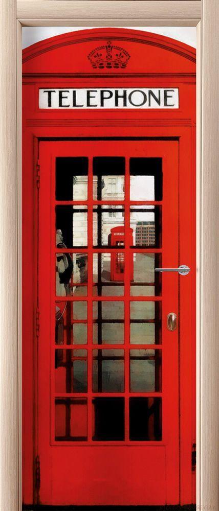 Наклейка на дверь - Телефонная будка
