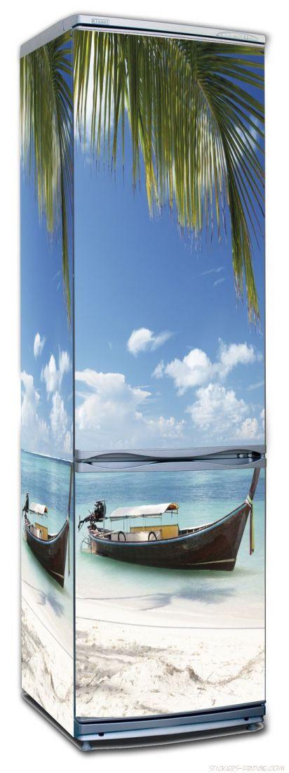 Наклейка на холодильник - Пляж 4