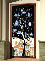 Наклейка на дверь - КотоВасия, днем и ночью